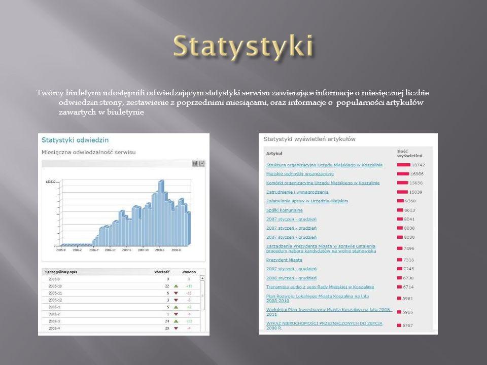 Twórcy biuletynu udostępnili odwiedzającym statystyki serwisu zawierające informacje o miesięcznej liczbie odwiedzin strony, zestawienie z poprzednimi
