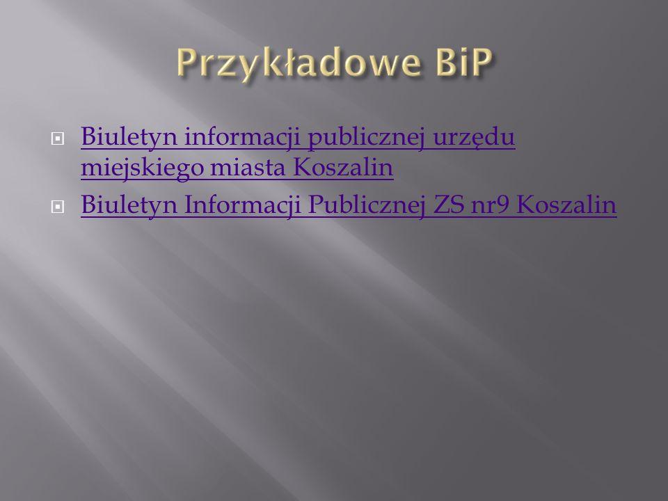 Jest to Biuletyn dotyczący Miasta Koszalin.