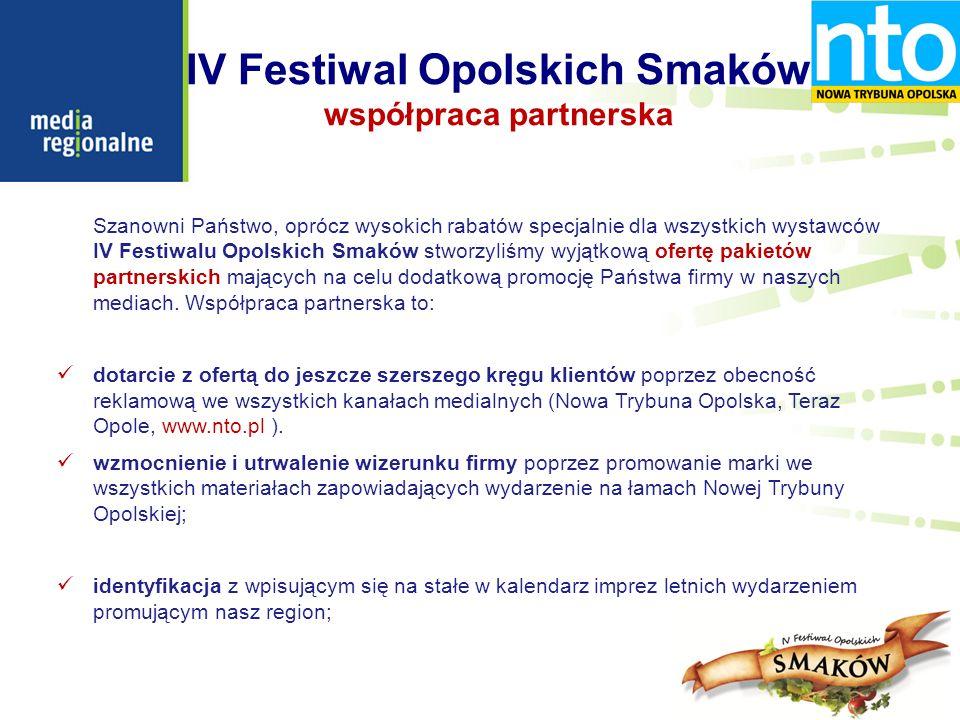 IV Festiwal Opolskich Smaków współpraca partnerska Szanowni Państwo, oprócz wysokich rabatów specjalnie dla wszystkich wystawców IV Festiwalu Opolskich Smaków stworzyliśmy wyjątkową ofertę pakietów partnerskich mających na celu dodatkową promocję Państwa firmy w naszych mediach.