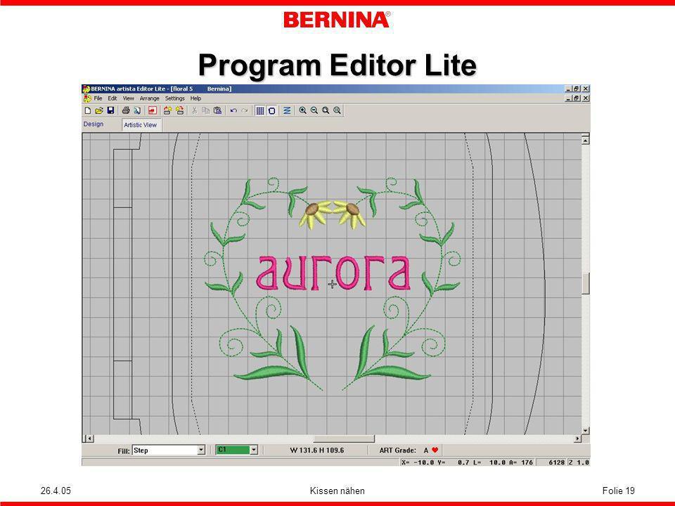 26.4.05Kissen nähenFolie 19 Program Editor Lite