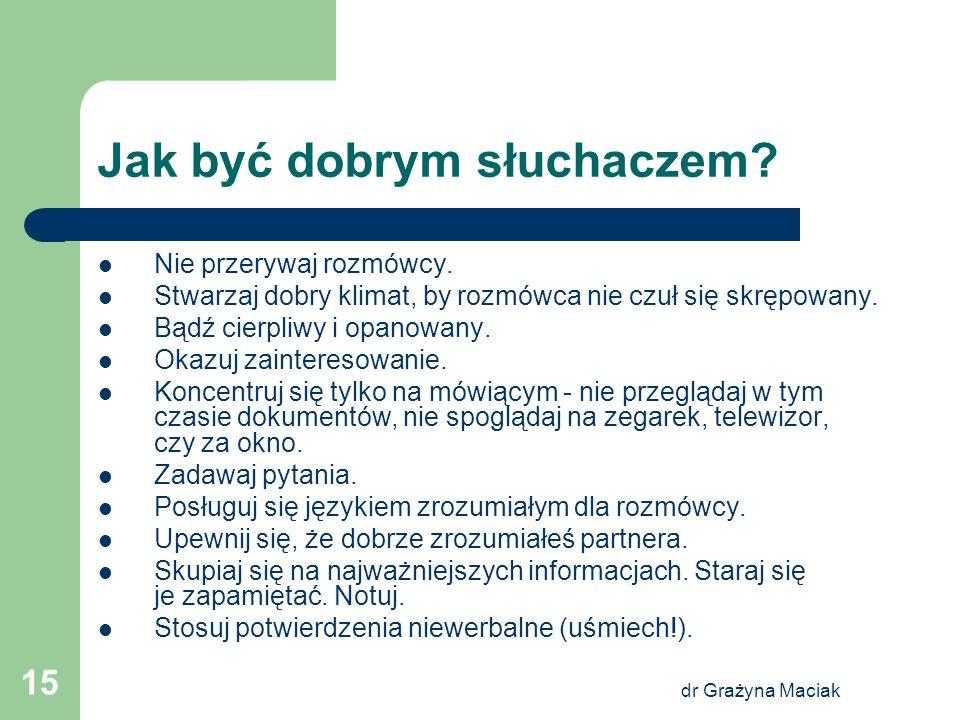 dr Grażyna Maciak 15 Jak być dobrym słuchaczem? Nie przerywaj rozmówcy. Stwarzaj dobry klimat, by rozmówca nie czuł się skrępowany. Bądź cierpliwy i o