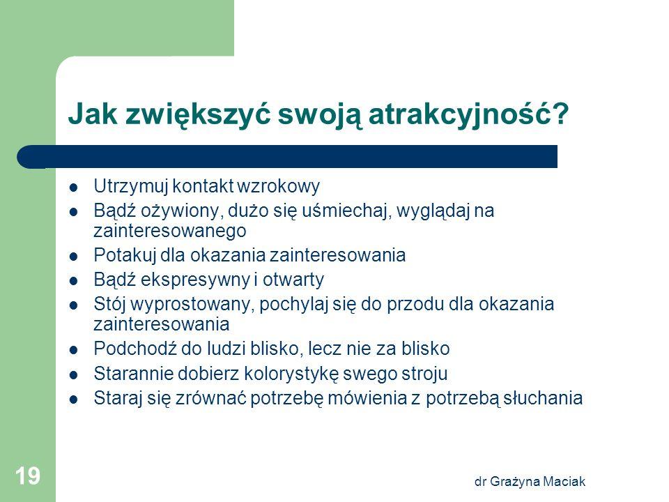 dr Grażyna Maciak 19 Jak zwiększyć swoją atrakcyjność? Utrzymuj kontakt wzrokowy Bądź ożywiony, dużo się uśmiechaj, wyglądaj na zainteresowanego Potak