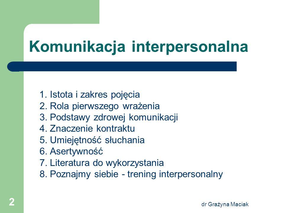 dr Grażyna Maciak 2 Komunikacja interpersonalna 1. Istota i zakres pojęcia 2. Rola pierwszego wrażenia 3. Podstawy zdrowej komunikacji 4. Znaczenie ko