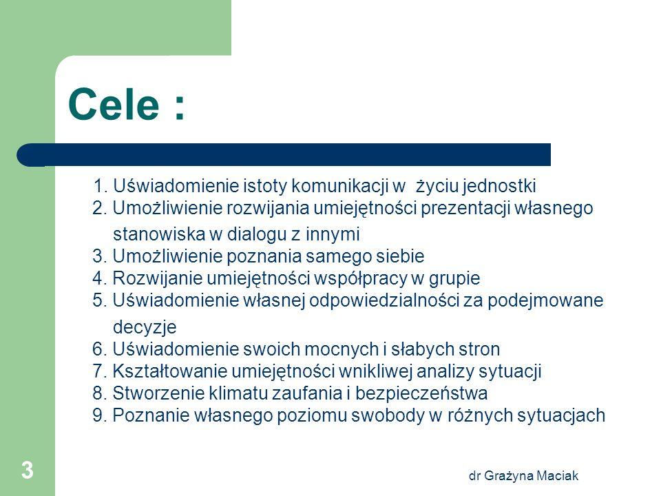 dr Grażyna Maciak 3 Cele : 1. Uświadomienie istoty komunikacji w życiu jednostki 2. Umożliwienie rozwijania umiejętności prezentacji własnego stanowis