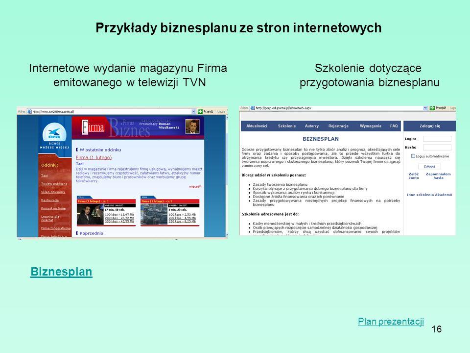 16 Przykłady biznesplanu ze stron internetowych Internetowe wydanie magazynu Firma emitowanego w telewizji TVN Szkolenie dotyczące przygotowania bizne