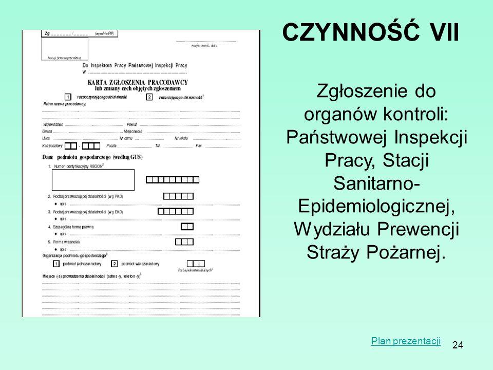 24 CZYNNOŚĆVII Zgłoszenie do organów kontroli: Państwowej Inspekcji Pracy, Stacji Sanitarno- Epidemiologicznej, Wydziału Prewencji Straży Pożarnej. Pl