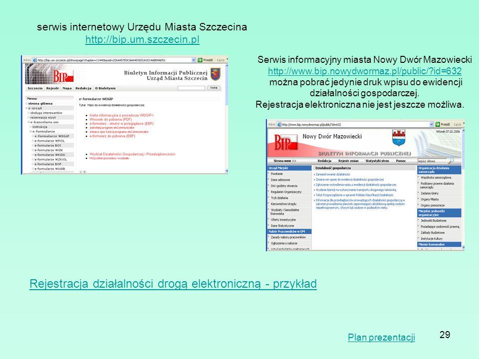29 serwis internetowy Urzędu Miasta Szczecina http://bip.um.szczecin.pl Serwis informacyjny miasta Nowy Dwór Mazowiecki http://www.bip.nowydwormaz.pl/
