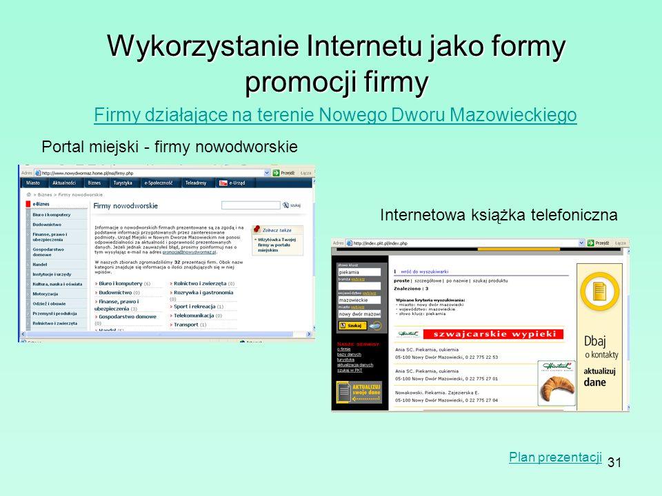 31 Wykorzystanie Internetu jako formy promocji firmy Firmy działające na terenie Nowego Dworu Mazowieckiego Portal miejski - firmy nowodworskie Intern