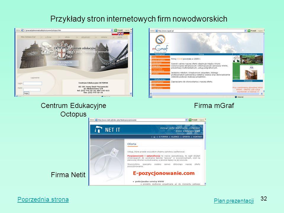 32 Przykłady stron internetowych firm nowodworskich Firma Netit Centrum Edukacyjne Octopus Firma mGraf Plan prezentacji Poprzednia strona