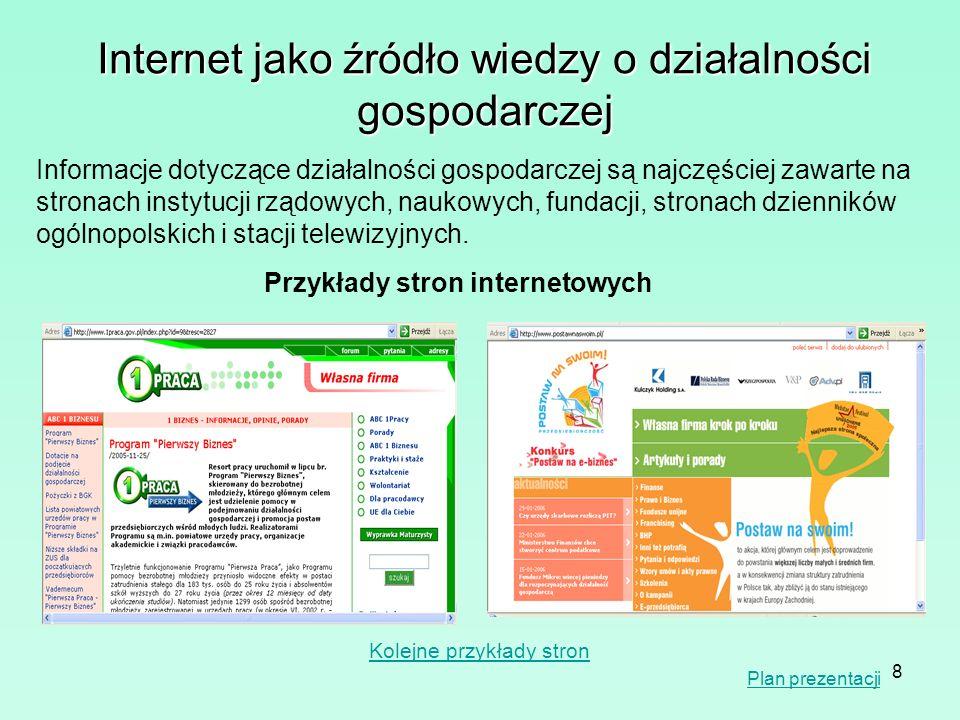 8 Internet jako źródło wiedzy o działalności gospodarczej Informacje dotyczące działalności gospodarczej są najczęściej zawarte na stronach instytucji