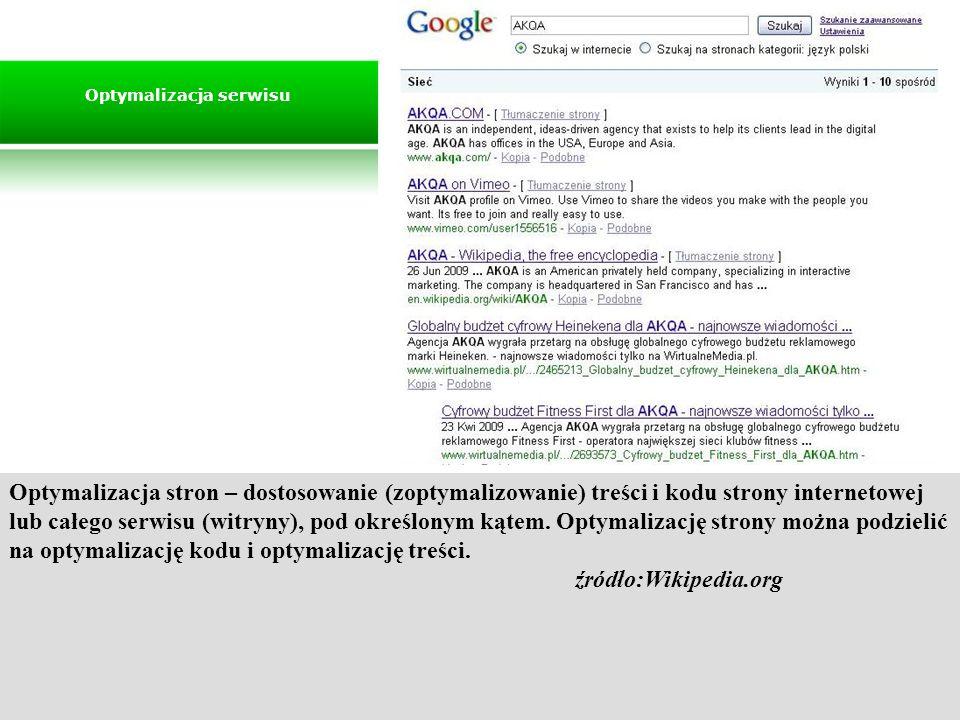 Optymalizacja stron – dostosowanie (zoptymalizowanie) treści i kodu strony internetowej lub całego serwisu (witryny), pod określonym kątem. Optymaliza