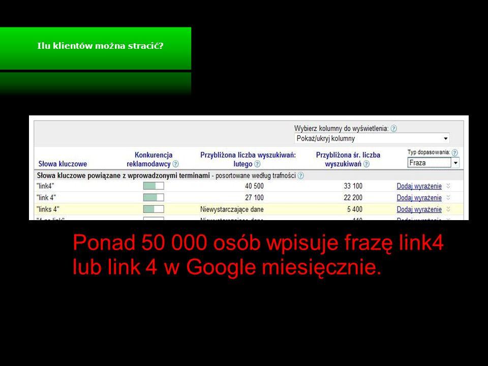 Ponad 50 000 osób wpisuje frazę link4 lub link 4 w Google miesięcznie. Ilu klientów można stracić?