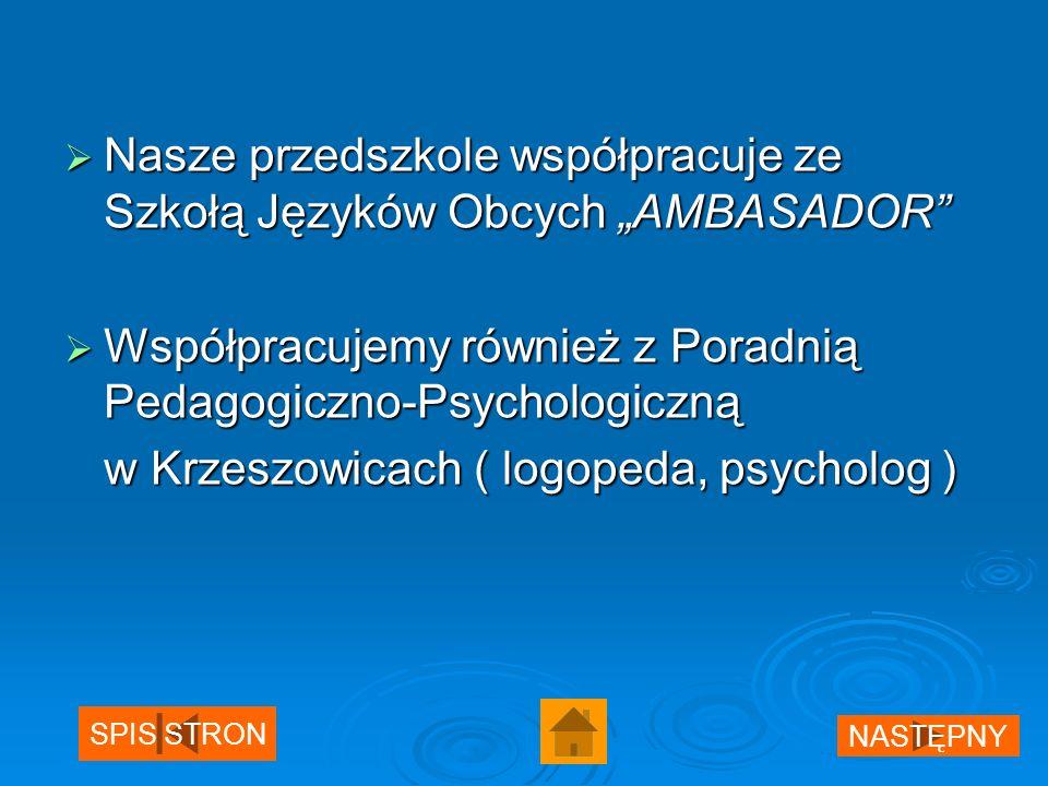 Nasze przedszkole współpracuje ze Szkołą Języków Obcych AMBASADOR Nasze przedszkole współpracuje ze Szkołą Języków Obcych AMBASADOR Współpracujemy również z Poradnią Pedagogiczno-Psychologiczną Współpracujemy również z Poradnią Pedagogiczno-Psychologiczną w Krzeszowicach ( logopeda, psycholog ) SPIS STRON NASTĘPNY