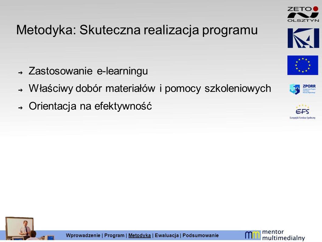 Metodyka: Skuteczna realizacja programu Zastosowanie e-learningu Właściwy dobór materiałów i pomocy szkoleniowych Orientacja na efektywność Wprowadzen