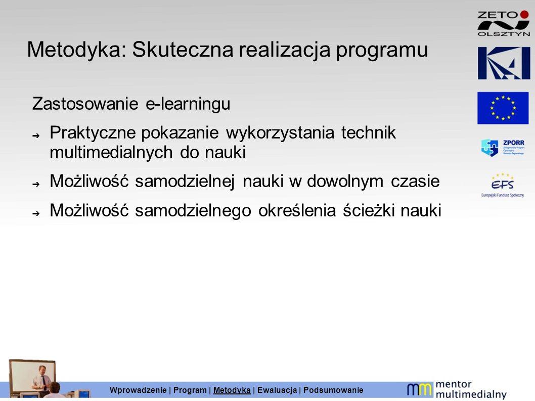 Metodyka: Skuteczna realizacja programu Zastosowanie e-learningu Praktyczne pokazanie wykorzystania technik multimedialnych do nauki Możliwość samodzi