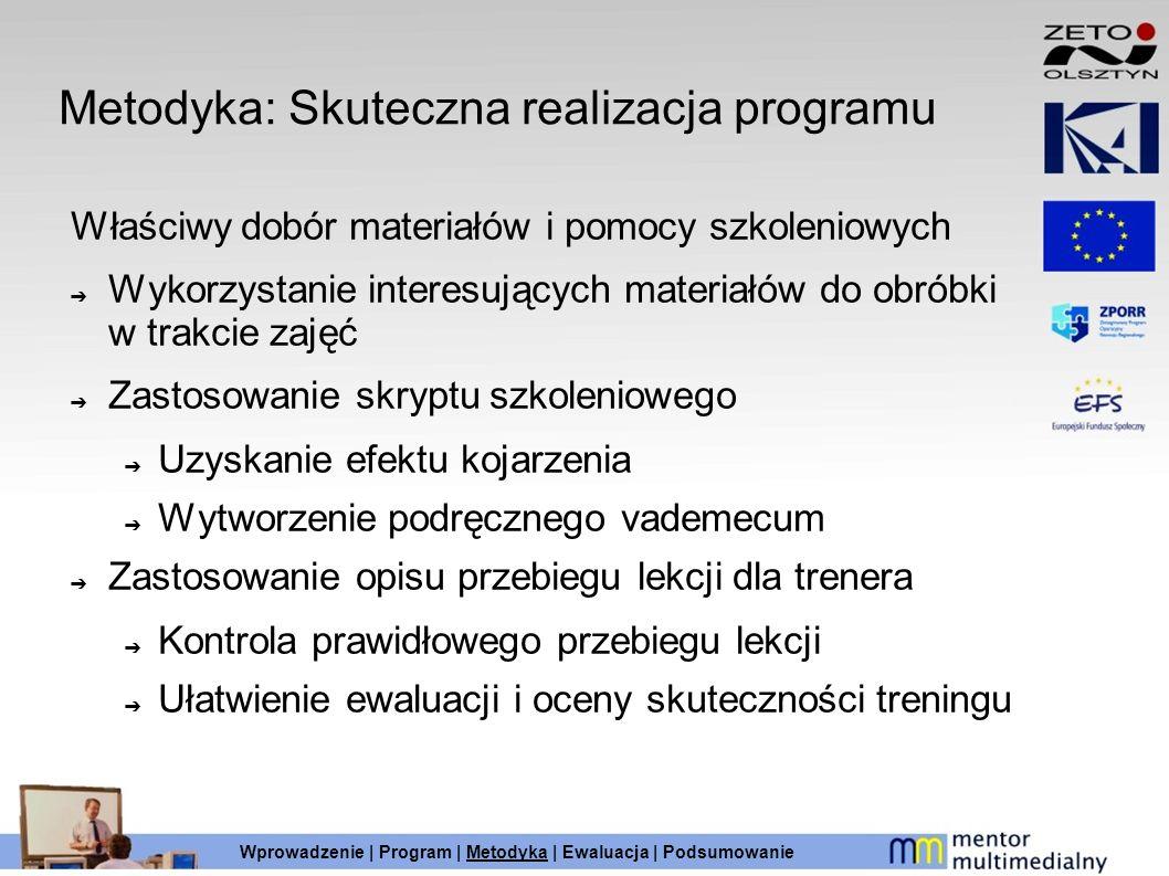 Metodyka: Skuteczna realizacja programu Właściwy dobór materiałów i pomocy szkoleniowych Wykorzystanie interesujących materiałów do obróbki w trakcie