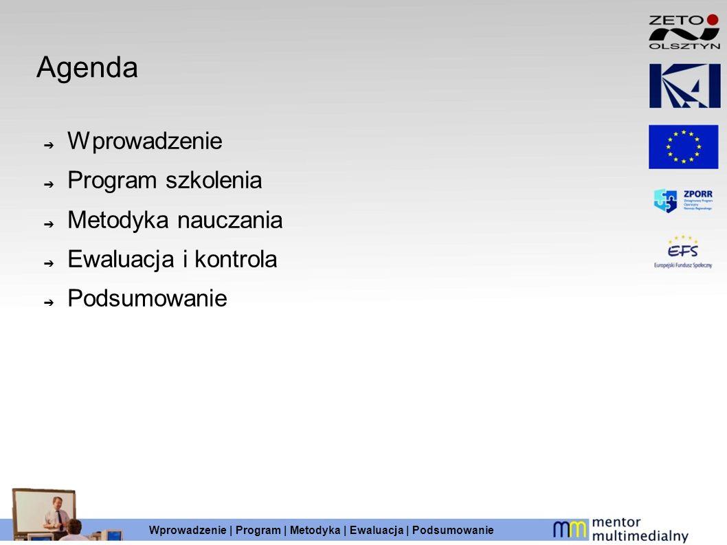 Agenda Wprowadzenie Program szkolenia Metodyka nauczania Ewaluacja i kontrola Podsumowanie Wprowadzenie | Program | Metodyka | Ewaluacja | Podsumowani