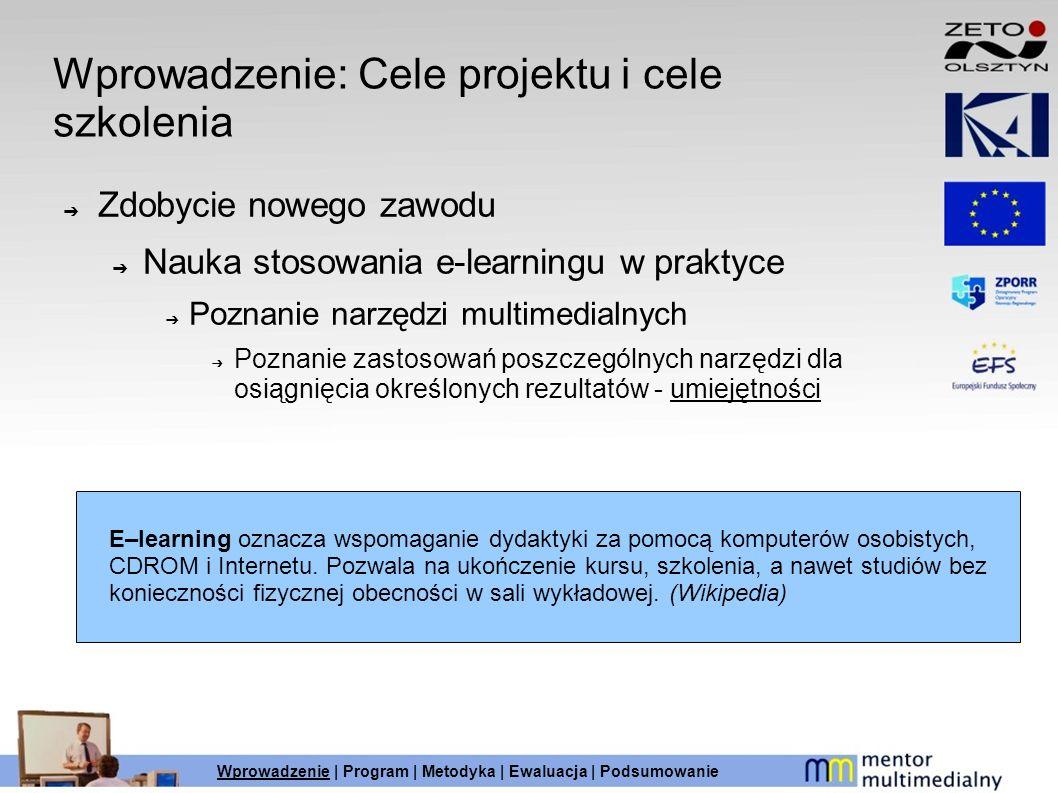 Wprowadzenie: Cele projektu i cele szkolenia Zdobycie nowego zawodu Nauka stosowania e-learningu w praktyce Poznanie narzędzi multimedialnych Poznanie