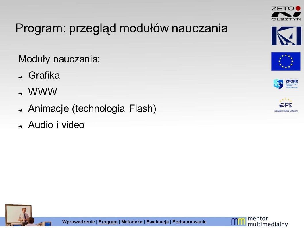 Program: przegląd modułów nauczania Moduły nauczania: Grafika WWW Animacje (technologia Flash) Audio i video Wprowadzenie | Program | Metodyka | Ewalu