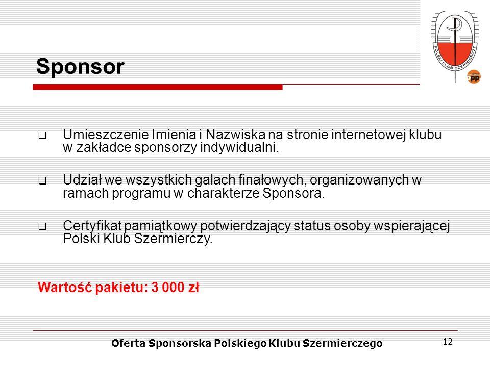 12 Sponsor Oferta Sponsorska Polskiego Klubu Szermierczego Umieszczenie Imienia i Nazwiska na stronie internetowej klubu w zakładce sponsorzy indywidu