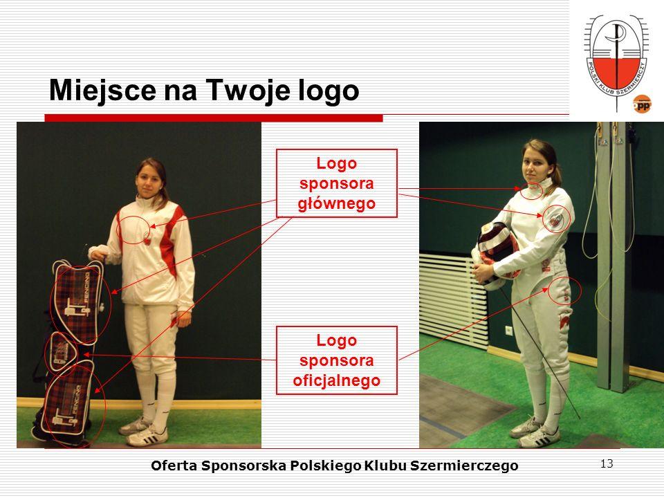 13 Miejsce na Twoje logo Logo sponsora głównego Oferta Sponsorska Polskiego Klubu Szermierczego Logo sponsora oficjalnego