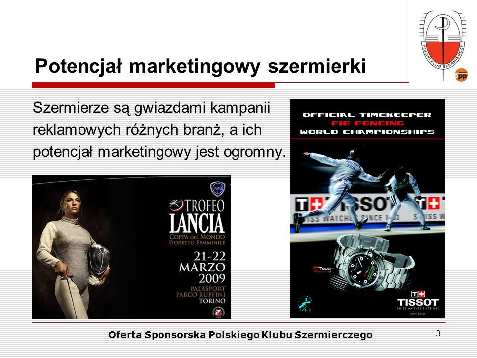 3 Potencjał marketingowy szermierki Szermierze są gwiazdami kampanii reklamowych różnych branż, a ich potencjał marketingowy jest ogromny. Oferta Spon