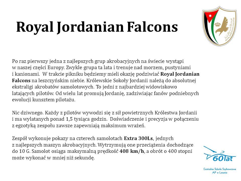 Royal Jordanian Falcons Aktualny skład zespołu: kapitan Jamil Zayyad lider formacji kapitan Abdel Hameed prowadzący kapitan Nofan Alghrair solista kapitan Shadi Al Arabi prawoskrzydłowy kapitan Mohammad Ma abreh lewoskrzydłowy © Royal Jordanian Falcons