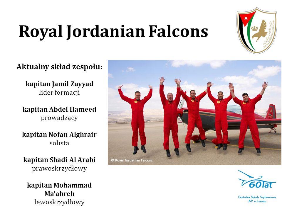 Royal Jordanian Falcons Aktualny skład zespołu: kapitan Jamil Zayyad lider formacji kapitan Abdel Hameed prowadzący kapitan Nofan Alghrair solista kap
