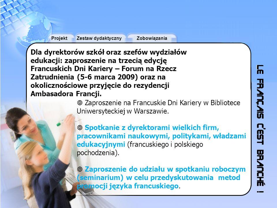 ProjektZestaw dydaktycznyZobowiązania Dla dyrektorów szkół oraz szefów wydziałów edukacji: zaproszenie na trzecią edycję Francuskich Dni Kariery – For