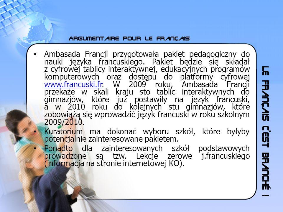 Ambasada Francji przygotowała pakiet pedagogiczny do nauki języka francuskiego. Pakiet będzie się składał z cyfrowej tablicy interaktywnej, edukacyjny