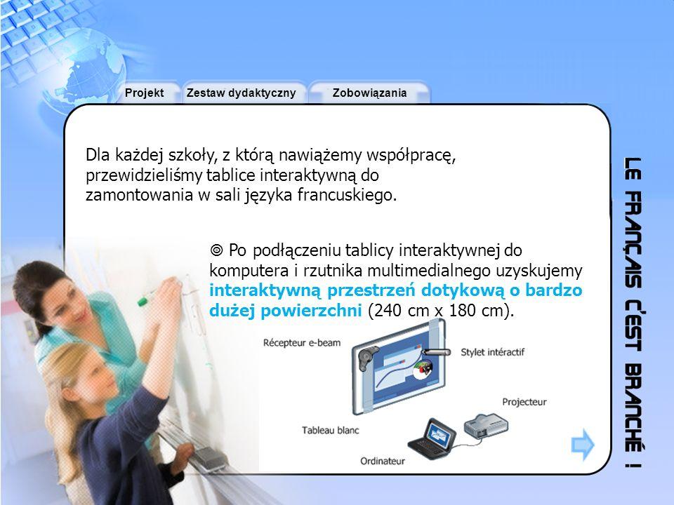ProjektZestaw dydaktycznyZobowiązania Tablica interaktywna umożliwia dostęp do wszystkich zasobów audiowizualnych i informatycznych (dokumentów dźwiękowych, filmów, zdjęć, tekstów, gier i stron internetowych online).