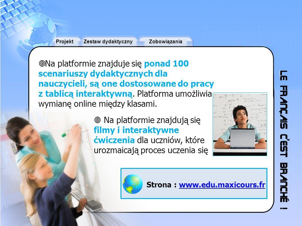 ProjektZestaw dydaktycznyZobowiązania Na platformie znajduje się ponad 100 scenariuszy dydaktycznych dla nauczycieli, są one dostosowane do pracy z ta