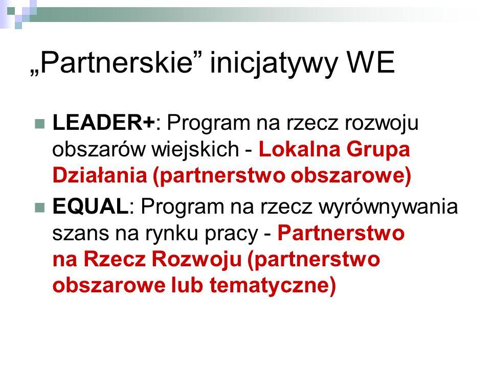 Partnerskie inicjatywy WE LEADER+: Program na rzecz rozwoju obszarów wiejskich - Lokalna Grupa Działania (partnerstwo obszarowe) EQUAL: Program na rzecz wyrównywania szans na rynku pracy - Partnerstwo na Rzecz Rozwoju (partnerstwo obszarowe lub tematyczne)