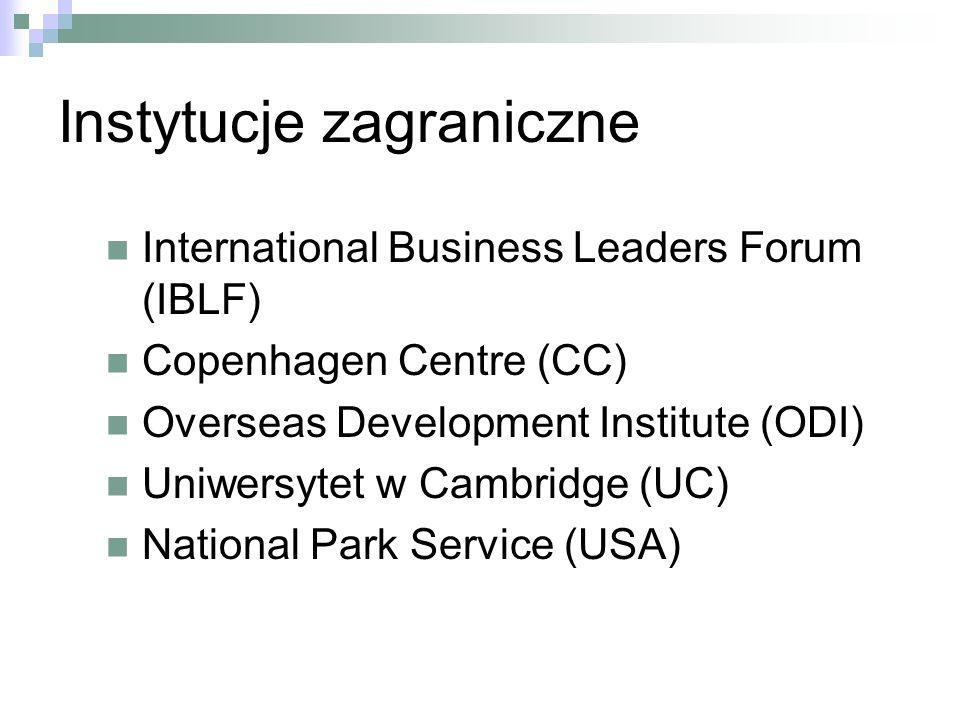 Instytucje zagraniczne International Business Leaders Forum (IBLF) Copenhagen Centre (CC) Overseas Development Institute (ODI) Uniwersytet w Cambridge (UC) National Park Service (USA)
