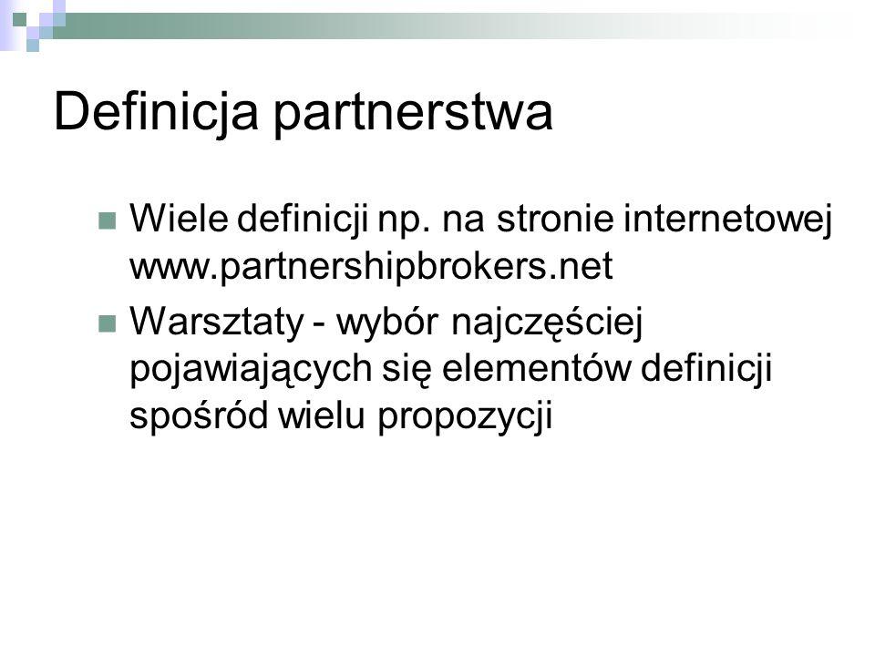 Definicja partnerstwa Wiele definicji np.