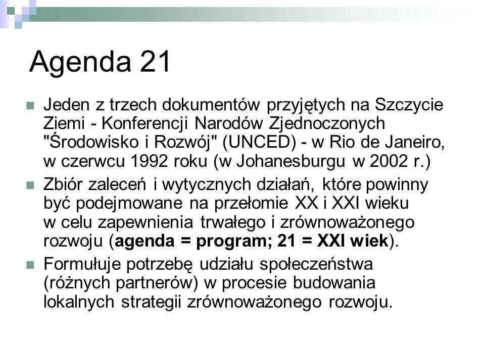Agenda 21 Jeden z trzech dokumentów przyjętych na Szczycie Ziemi - Konferencji Narodów Zjednoczonych Środowisko i Rozwój (UNCED) - w Rio de Janeiro, w czerwcu 1992 roku (w Johanesburgu w 2002 r.) Zbiór zaleceń i wytycznych działań, które powinny być podejmowane na przełomie XX i XXI wieku w celu zapewnienia trwałego i zrównoważonego rozwoju (agenda = program; 21 = XXI wiek).