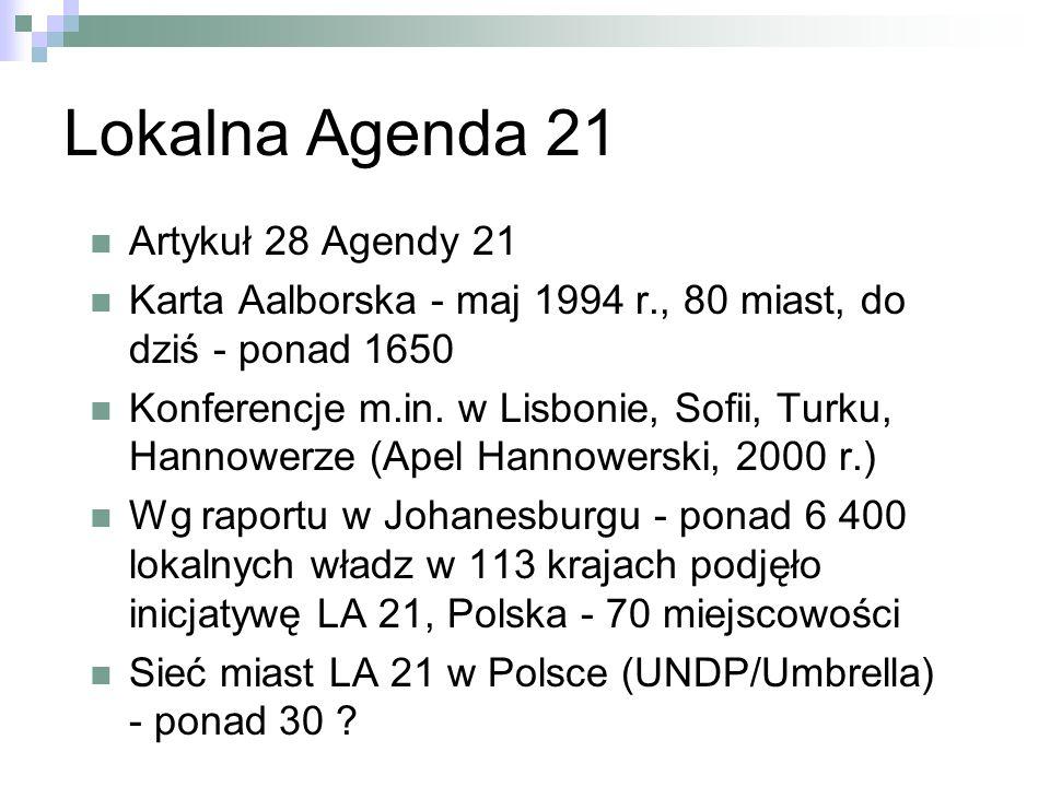 Lokalna Agenda 21 Artykuł 28 Agendy 21 Karta Aalborska - maj 1994 r., 80 miast, do dziś - ponad 1650 Konferencje m.in.