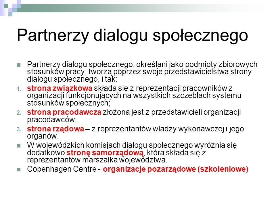 Partnerzy dialogu społecznego Partnerzy dialogu społecznego, określani jako podmioty zbiorowych stosunków pracy, tworzą poprzez swoje przedstawicielstwa strony dialogu społecznego, i tak: 1.