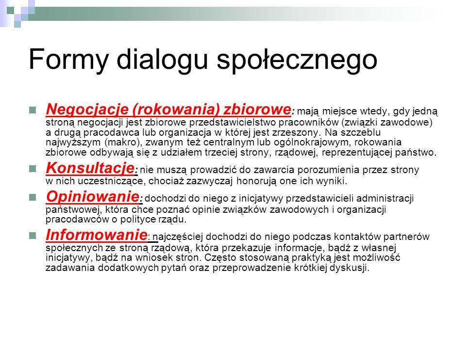 Formy dialogu społecznego Negocjacje (rokowania) zbiorowe : mają miejsce wtedy, gdy jedną stroną negocjacji jest zbiorowe przedstawicielstwo pracowników (związki zawodowe) a drugą pracodawca lub organizacja w której jest zrzeszony.