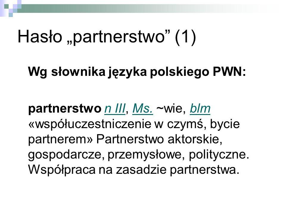 Hasło partnerstwo (1) Wg słownika języka polskiego PWN: partnerstwo n III, Ms.