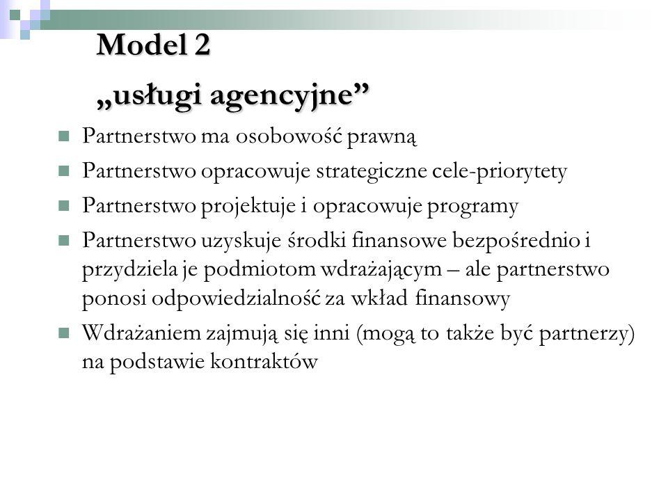 Model 2 usługi agencyjne Partnerstwo ma osobowość prawną Partnerstwo opracowuje strategiczne cele-priorytety Partnerstwo projektuje i opracowuje programy Partnerstwo uzyskuje środki finansowe bezpośrednio i przydziela je podmiotom wdrażającym – ale partnerstwo ponosi odpowiedzialność za wkład finansowy Wdrażaniem zajmują się inni (mogą to także być partnerzy) na podstawie kontraktów