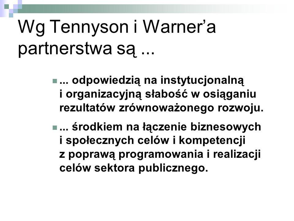 Wg Tennyson i Warnera partnerstwa są......