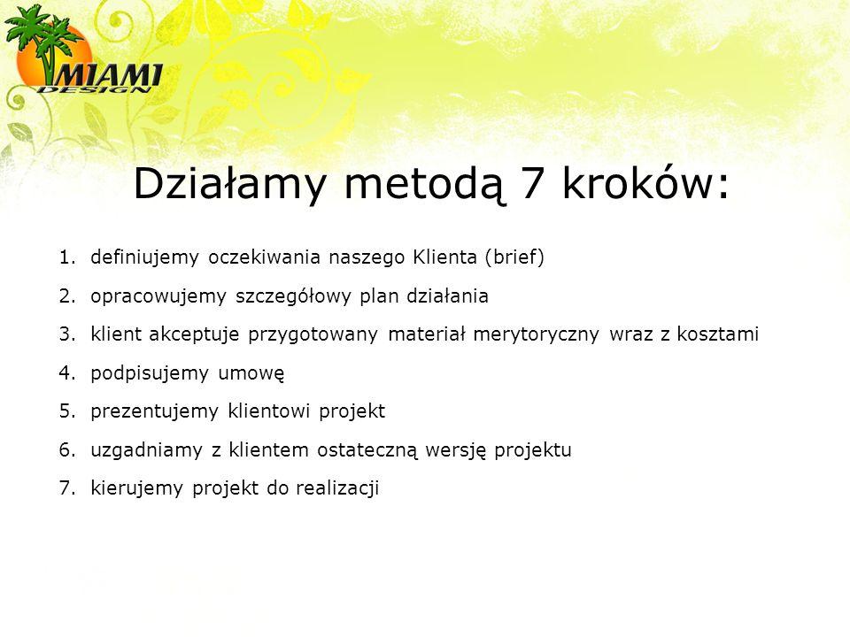 Działamy metodą 7 kroków: 1.definiujemy oczekiwania naszego Klienta (brief) 2.opracowujemy szczegółowy plan działania 3.klient akceptuje przygotowany