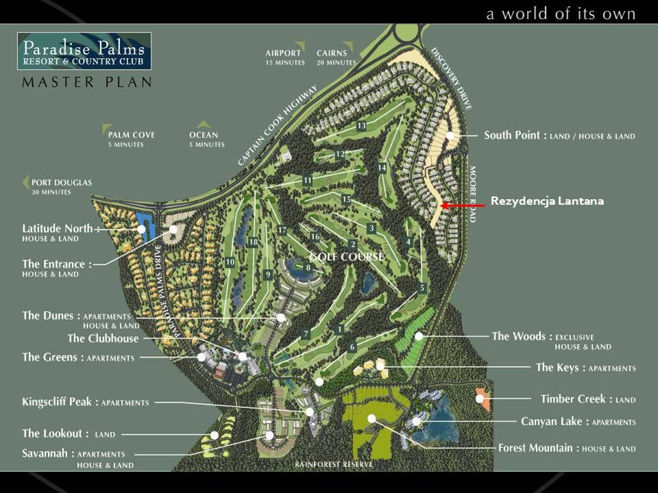 Widok od strony Ninth Green Rezydencja Lantana graniczy z renomowanym polem golfowym, i umozliwia dostęp do Clubhouse jego udogodnień.