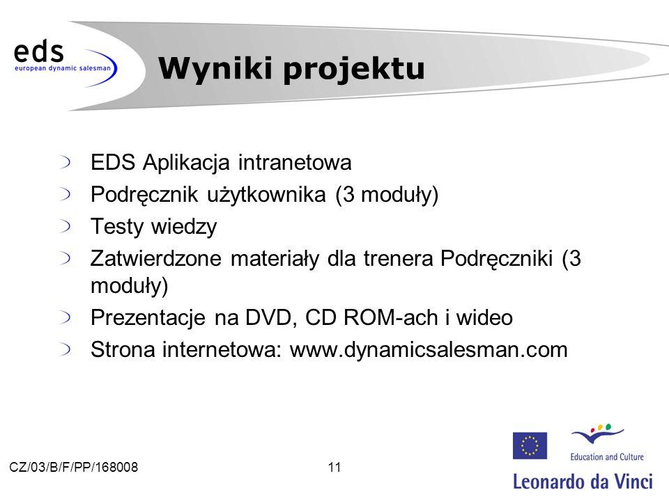 11CZ/03/B/F/PP/168008 EDS Aplikacja intranetowa Podręcznik użytkownika (3 moduły) Testy wiedzy Zatwierdzone materiały dla trenera Podręczniki (3 moduły) Prezentacje na DVD, CD ROM-ach i wideo Strona internetowa: www.dynamicsalesman.com Wyniki projektu