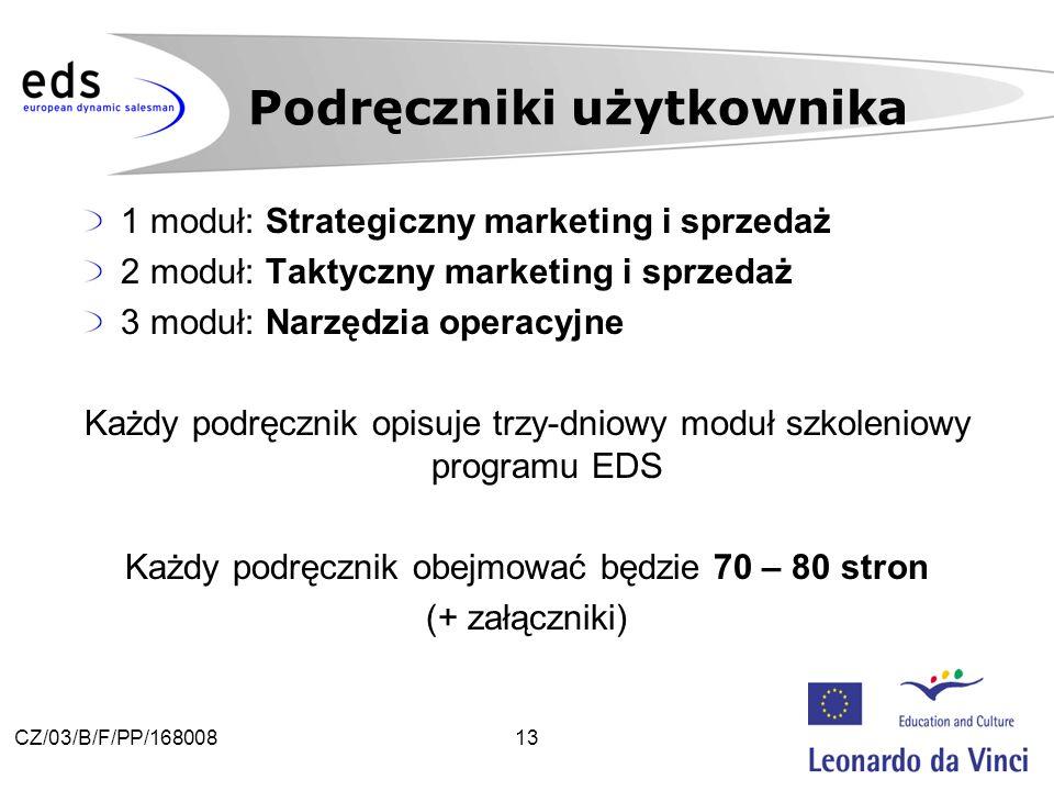 13CZ/03/B/F/PP/168008 1 moduł: Strategiczny marketing i sprzedaż 2 moduł: Taktyczny marketing i sprzedaż 3 moduł: Narzędzia operacyjne Każdy podręcznik opisuje trzy-dniowy moduł szkoleniowy programu EDS Każdy podręcznik obejmować będzie 70 – 80 stron (+ załączniki) Podręczniki użytkownika