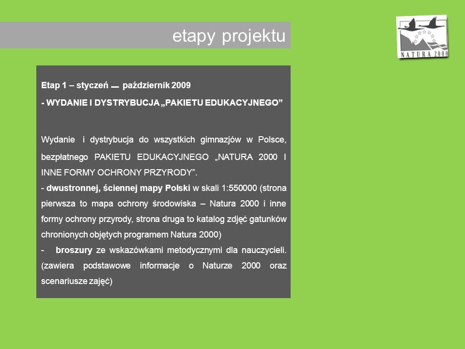 etapy projektu Etap 1 – styczeń _ październik 2009 - WYDANIE I DYSTRYBUCJA PAKIETU EDUKACYJNEGO Wydanie i dystrybucja do wszystkich gimnazjów w Polsce, bezpłatnego PAKIETU EDUKACYJNEGO NATURA 2000 I INNE FORMY OCHRONY PRZYRODY.