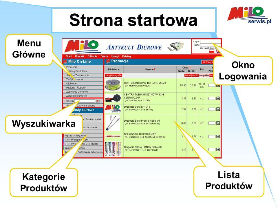 Strona startowa Menu Główne Kategorie Produktów Wyszukiwarka Okno Logowania Lista Produktów