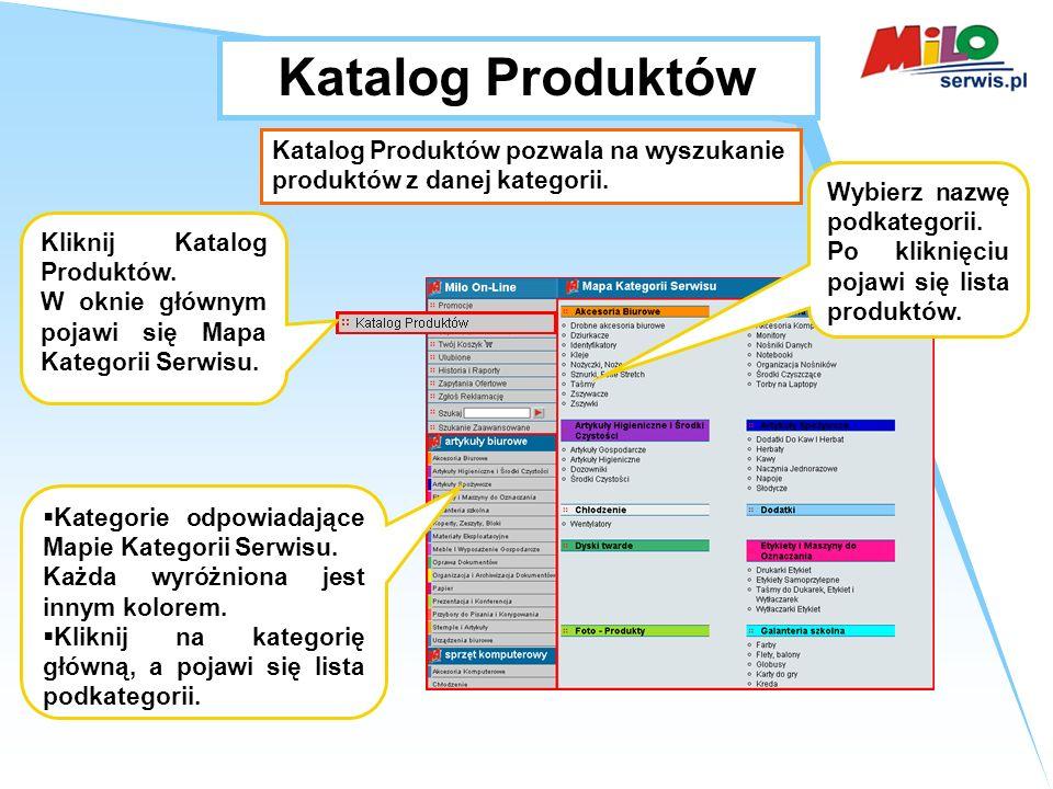 Katalog Produktów Kliknij Katalog Produktów.W oknie głównym pojawi się Mapa Kategorii Serwisu.