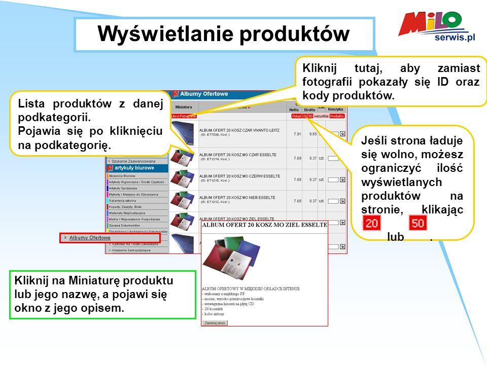 Wyświetlanie produktów Lista produktów z danej podkategorii.